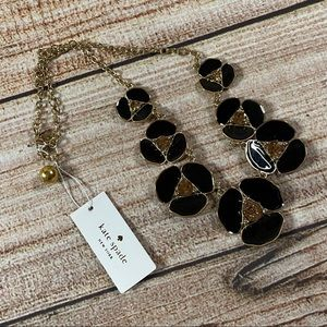 """Kate Spade NWT """"Disco Pansy"""" Black Floral Necklace"""